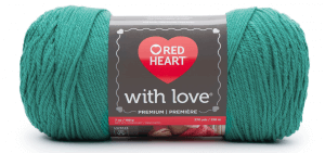 Red Heart with Love yarn skein color Jadeite