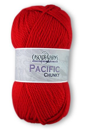 ball of Pacific Chunky yarn in red