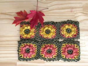 coral, yellow and sage cowl