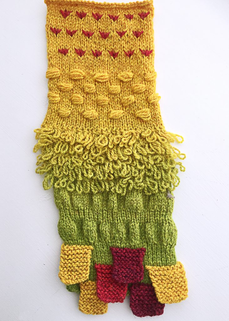 colorful swatch showing five unusual stitch patterns