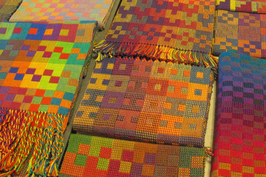 Colorful woven scarves