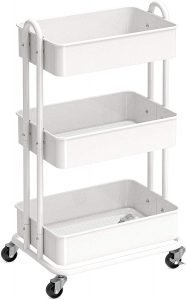 rolling white metal cart with three tiers