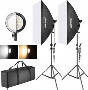 Two softbox lights on adjustable tripods, carrying case