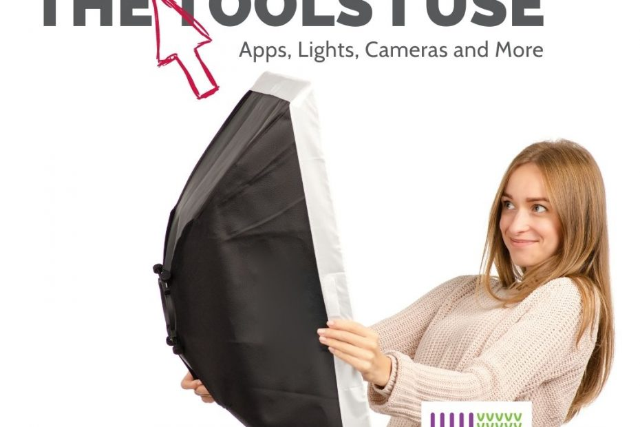 smiling girl holding softbox light-The Professional tools I use