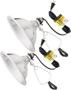 """two metal """"can"""" shop lights with clamps"""