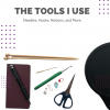 The Tools I Use-images of scissors, notebook and mechanical pencil, food scale, knitting needles, crochet hook, tapestry needle and stitch markers