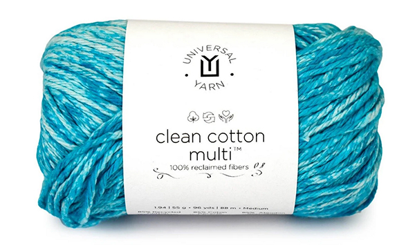 bal of spaced dyed turquoise yarn Clean Cotton Multi by Universal Yarn