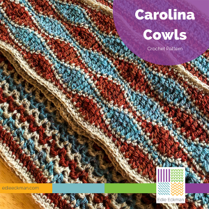 three turquoise, rust and tan cowls in a flat lay, each with a diferent stitch pattern