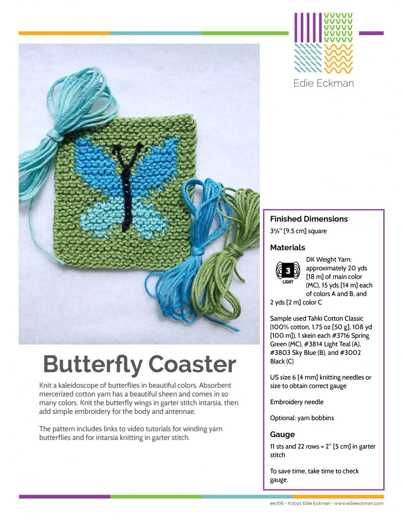 first page of Butterfly Coaster pattern