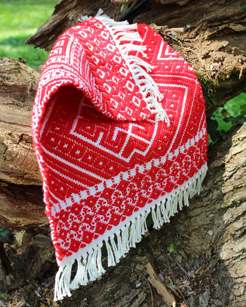 red and white patterned woven math