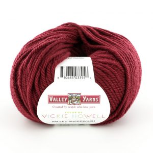 ball of wine-colored Valley Yarns Valley Superwash